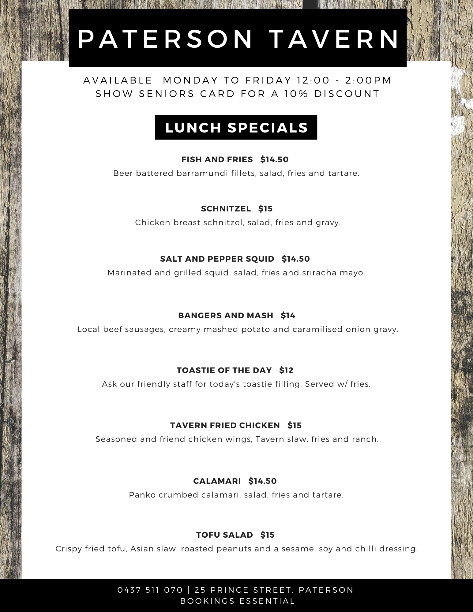 Paterson Tavern Lunch Specials